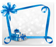 Holiday background with blue gift bow with gift box