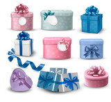 Fototapety Set of colorful gift boxes with bows and ribbons.