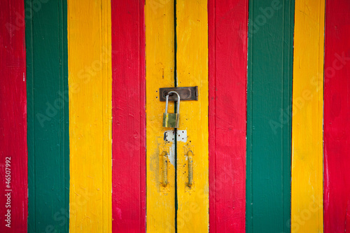 vintage lock and colorful door