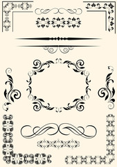 Set of decorative elements for design