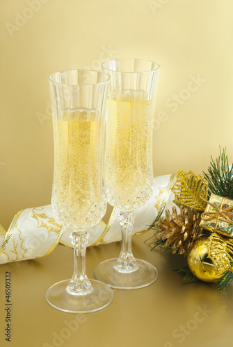 Christmas glasses with champagne