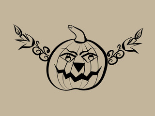 Hand drawn halloween pumpkin