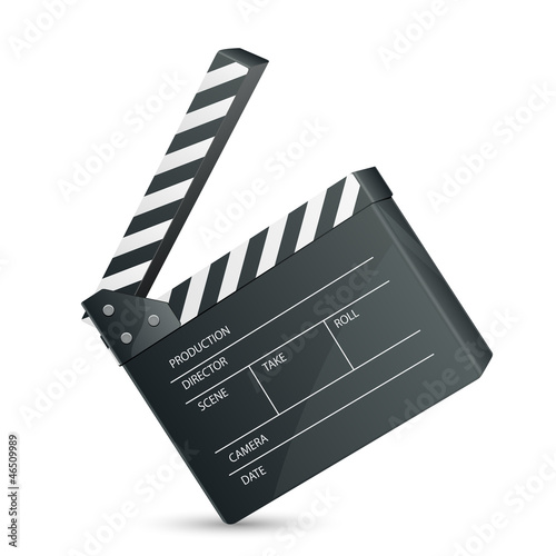 vector illustration of film set clapper against white