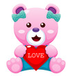 Illustration of Teddy bear with heart vector