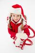 Winter, snow, kid sledding at winter time