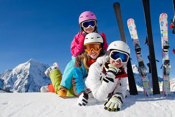 Skiing, winter fun - happy  ski team