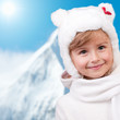Winter fun , snow, cute kid at winter time
