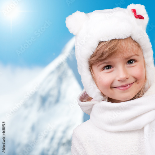Winter fun , snow, cute kid at winter time