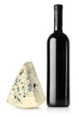 Bottle of red wine and blue cheese