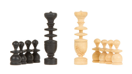Black and white king isolated with pawns