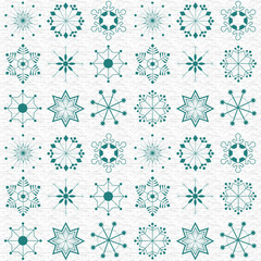 Blue Christmas wallpaper and pattern with snowflakes collection.