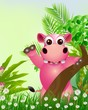 cute hippo cartoon smiling with tropical forest background