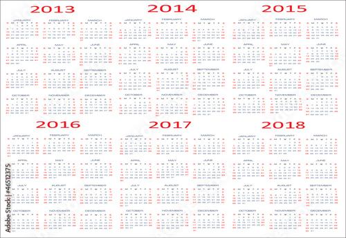 Vector basic calendar 2013 2014 2015 2016 2017 2018