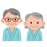 健康診断を受けるシニア男女