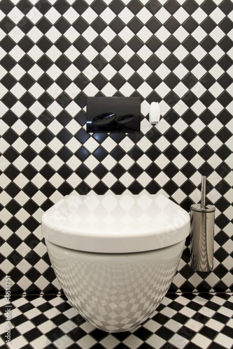 Checkered pattern in toilet