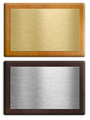Silver and gold wooden plaques isolated on white set. Clipping p