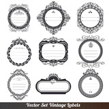 Vector frame labels set ornamental vintage decoration