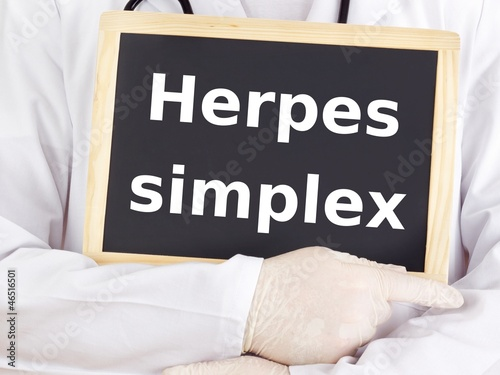 Doctor shows information: herpes simplex