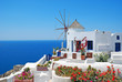 Leinwanddruck Bild - Traditional architecture of Oia village at Santorini island in G
