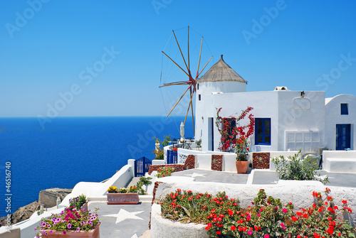Traditional architecture of Oia village at Santorini island in G