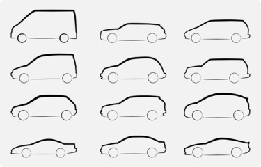 Abstract vector illustration of various car silhouettes