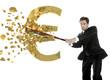 Portuguese  businessman breaks the euro with a baseball bat
