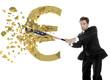 American  businessman breaks the euro with a baseball bat