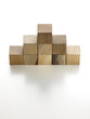 various wooden cubes on a white background