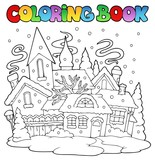 Fototapety Coloring book winter town image 1