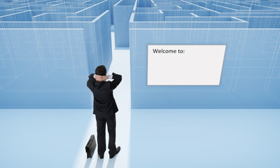 Businessman. Make a difficult decision. Blueprint.