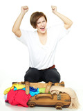 Woman cheers and  packs her overcrowded bag for holiday poster
