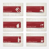 Set of 6 business cards. For cafe and restaurant_ red