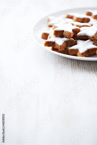 Cinnamon stars on a plate
