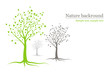 vector background - green and grey trees