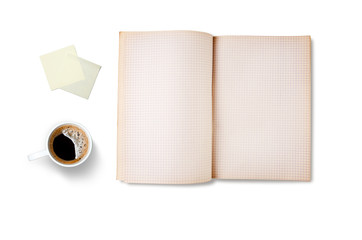 Workspace with coffee cup, note paper and notebook, isolated on