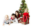 Christmas family and fir tree with gift boxes