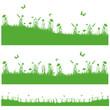 herbes et fleurs en ombre chinoise verte