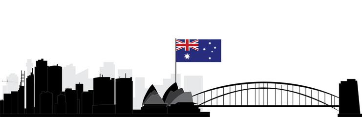 sydney skyline with flag