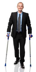 businessman with crutch