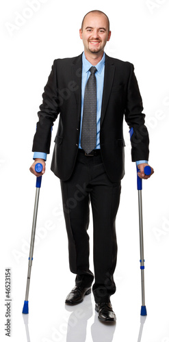 businessman with crutch