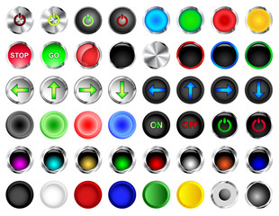 Round Push Button Vectors