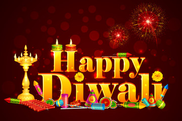 vector illustration of Happy Diwali with diya and fire cracker