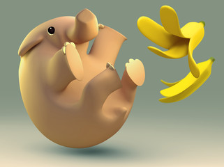 3D elephant slipped by a banana