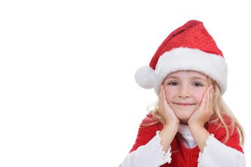 little girl in red santa hat