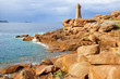 Panoramic view over Pink Granite Coast, France