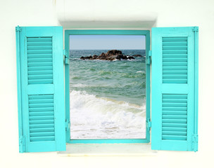 Greek style window with sea view