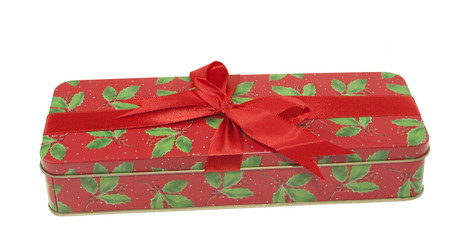 decorative tin christmas box on a white background