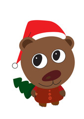 cute bear with Christmas tree