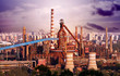Landscape of construction power factories with big chimneys and