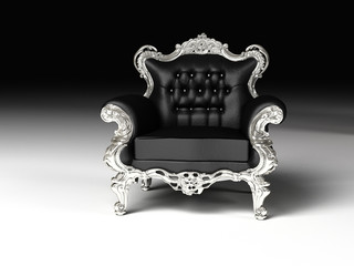 Royal armchair with silver frame, furniture